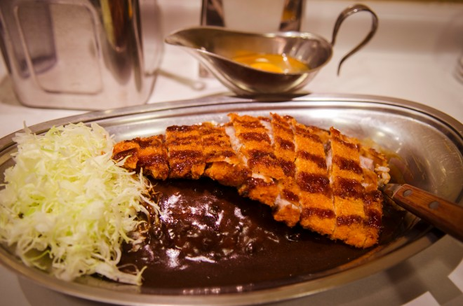 Go! Go! Curry! (ゴーゴーカレー) Tender pork cutlet with secret Ishikawa-style curry recipe. It's black and it's big and it's amazing.