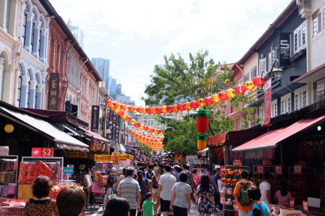 Welcome to Chinatown! The view that you will see when you exit to Pagoda Street from Chinatown MRT