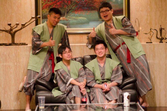 We were provided silk yukata (traditional Japanese robe, a casual version of the more expensive kimono).