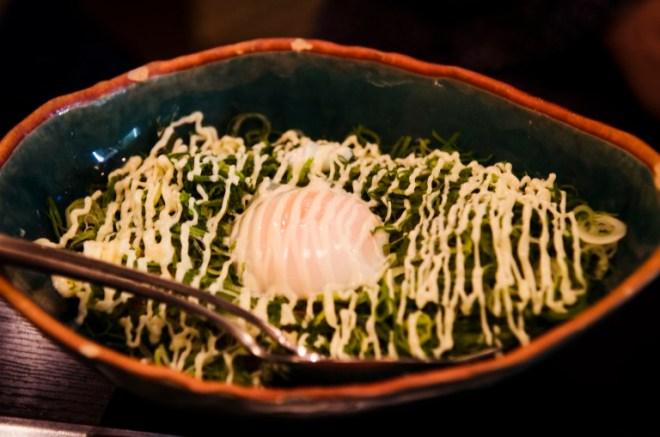Okonomiyaki with leek, egg yolk and mayo on top <3