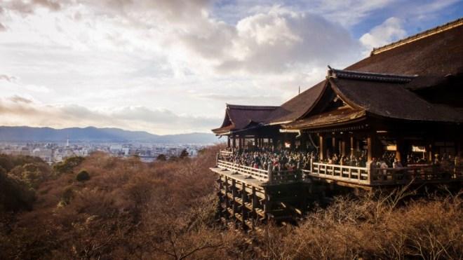 "Kiyomizudera (清水寺) literally ""Pure Water Temple"" nearing sunset."