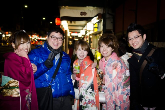 Matias and I dared ourselves to say hi to a couple girls in Kimono. They were very happy to pose for us overexcited foreigners!