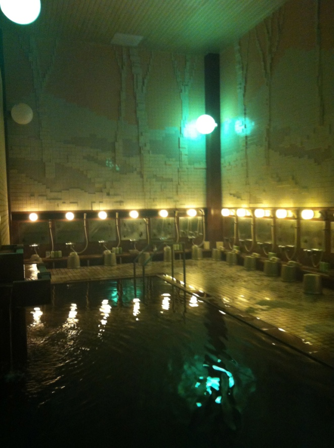 The indoor onsen or natural hot spring. It's open 20 hours a day and it's a godsend for tired people to rejuvenate.