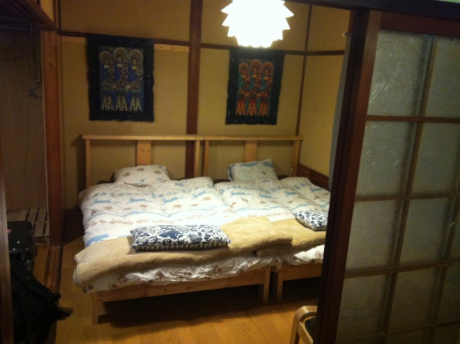 Our hostel room at Golden Pavilion House near Kinkakuji. It deserves a special mention because of how rustic and cool it was.